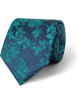 Navy with Teal Flower design CK Silk Tie