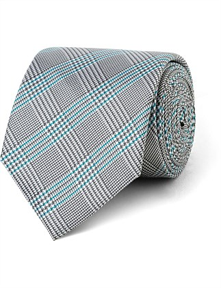 Navy with Teal Stripe Check CK Silk Tie