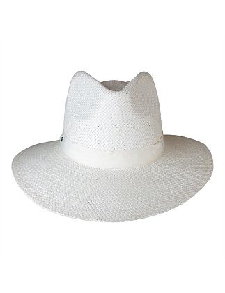 Woven paper fedora with pete trim
