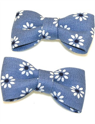 DENIM DAISY BOW CLIP SET