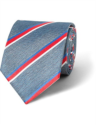 Blue with Coral, White & Blue Stripe VH Silk Tie