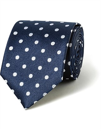 Navy with White Spot VH Silk Tie