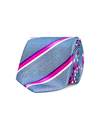 Denim with Pink & White Stripe VH Silk Tie