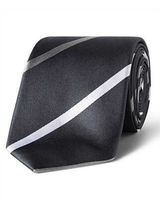 Grey with White Stripe VH Silk Tie
