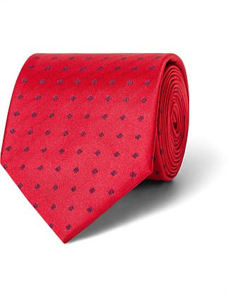 Red with Navy Spot VH Poly Tie