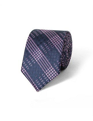Navy & Mauve Check VH Poly Tie