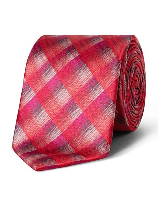 Red Multi Check VH Poly Tie
