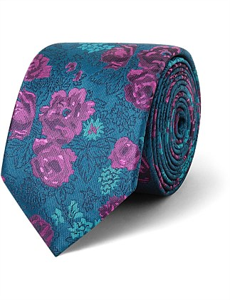 Teal & Burgundy Floral design VH Poly Tie