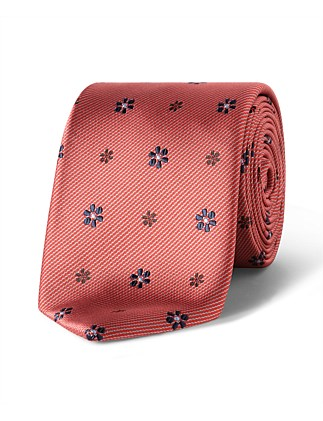 Red with Navy Floral dobby VH Poly Tie