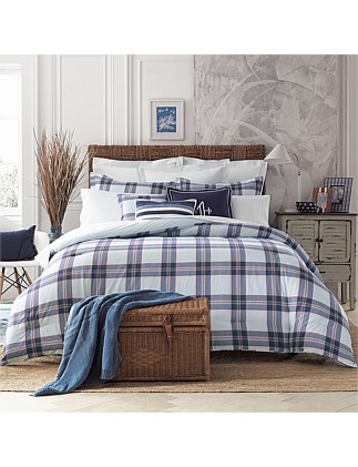 SURF PLAID QUILT COVER SET QUEEN BED