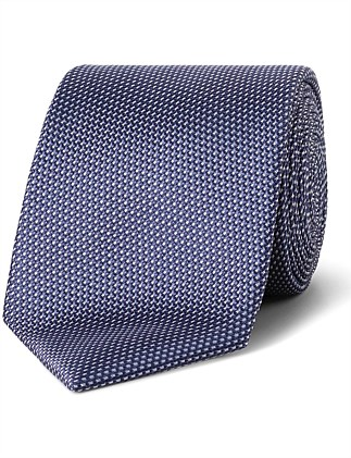 Navy with White Fine Stripe CK Silk Tie
