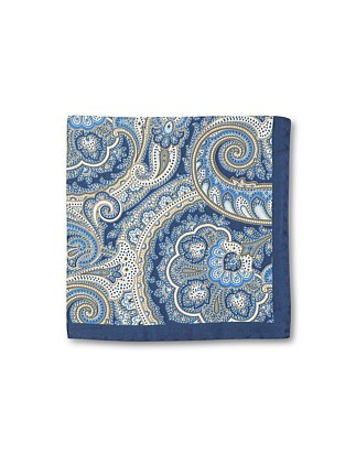 FEATHERED PAISLEY SILK POCHETTE