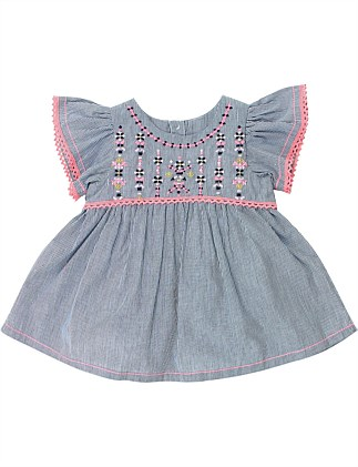 Kindred Stripe Embroidery Dress (Girls 3-7 Years)