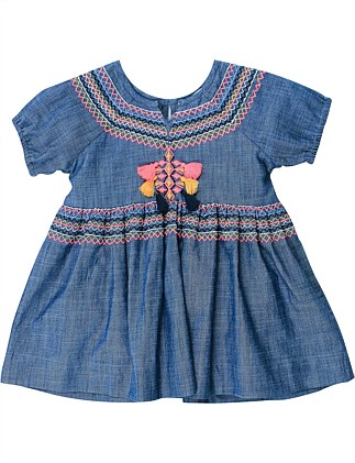 Kindred Chambray Dress W Embroidery (Girls 3-7 Years)