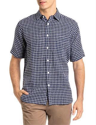 THEO S/S LINEN CHECK SHIRT