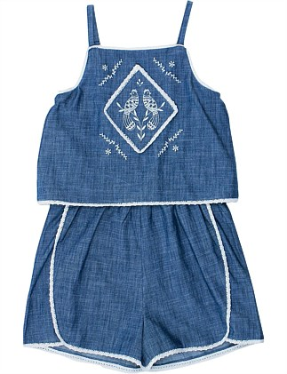 Jaipur Chambray Playsuit W Embroidery (Girls 8-14 Years)