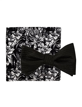 BOWTIE/HANK SET -TEXTURED PLAIN BOW PRINTED FLORAL POCKET SQ