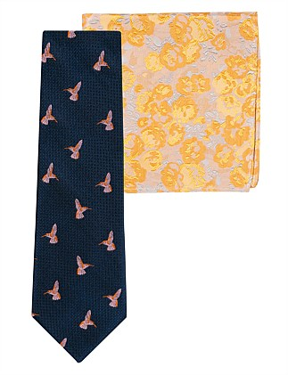 HUMMINGBIRD TIE & FLORAL POCKET SQ