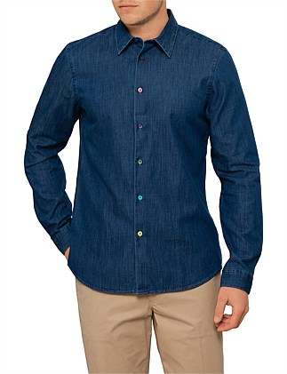 Tailored Fit Denim Shirt W/ Multi Coloured Buttons