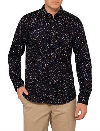 Tailored Fit Multi Coloured Pin Print L/S Casual Shirt