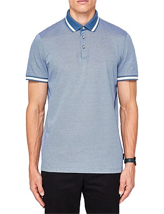 POODAL STRIPE COLLAR TEXTURED POLO