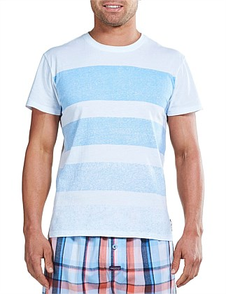 PRINT STRIPE CREW NECK SLEEP TEE