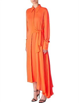 TANGERINE GEORGETTE SONNET DRESS