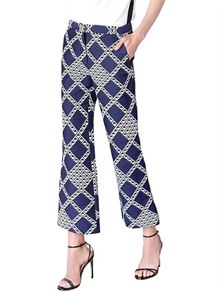 NAVY DIAMOND BOOTLEG CROPPED PANT