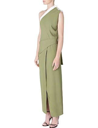 OLIVE CREPE ATHENA DRESS