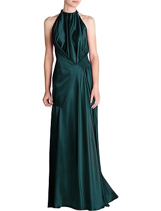 EMERALD SILK SATIN ISABELLA GOWN