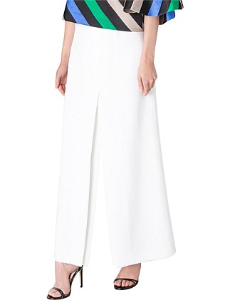 WHITE CREPE CULOTTE LONG PANT