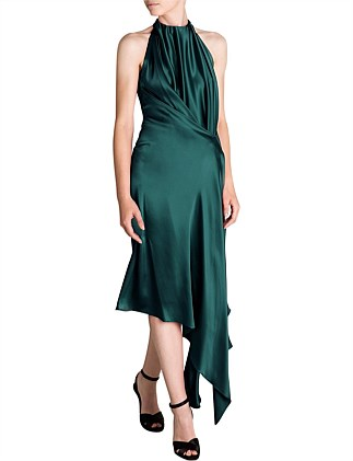 EMERALD SILK SATIN ISABELLA DRESS
