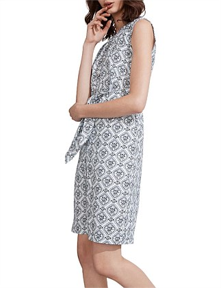 Diamond Tile Print Linen Dress