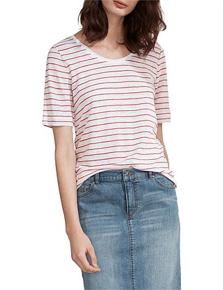 426be8f60 Half Sleeve Linen Striped T-Shirt ...
