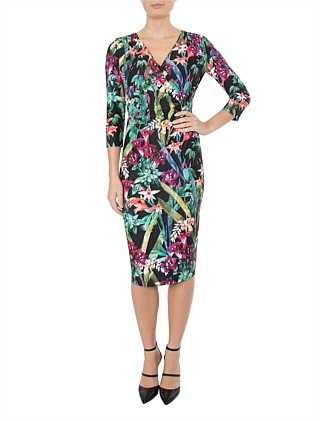 WILD ORCHID JERSEY DRESS