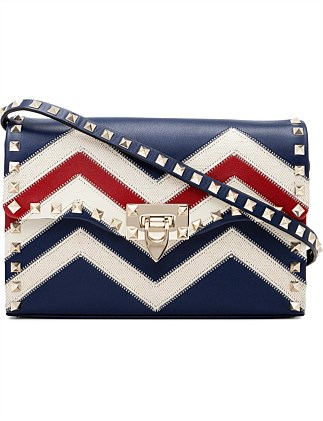 CHEVRON SMALL LEATHER SHOULDER BAG