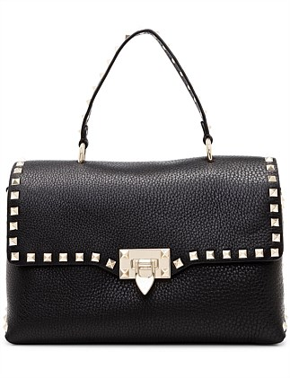 ROCKSTUD SINGLE HANDLE LEATHER BAG