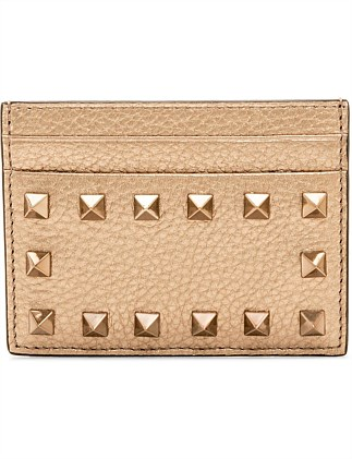 ROCKSTUD LEATHER CARD HOLDER