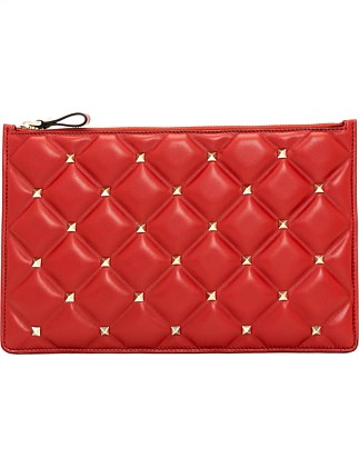 CANDY STUD LARGE LEATHER FLAT POUCH