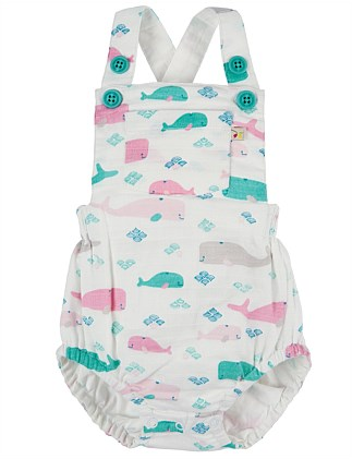 Little Whale Mabel Muslin Dungaree(0-24Months)