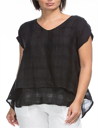 Textured Linen Overlay Top