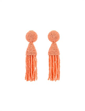 SHORT BEADED TASSEL EARRING