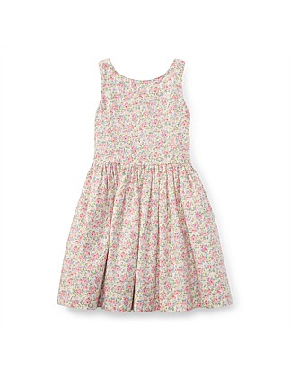 Floral Cotton Sleeveless Dress(2-7 Years)