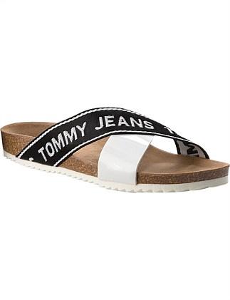 e2911200f986 Tommy Jeans Flat Cork Sandal Patent PU