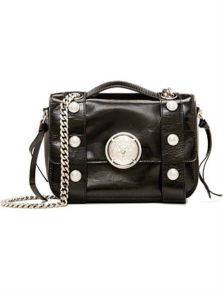 FLAP BAG BSOFT 20-SHINY AND DISTRESSED LEATHER