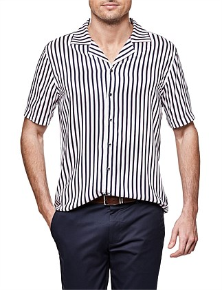 Whit Short Sleeve Striped Shirt