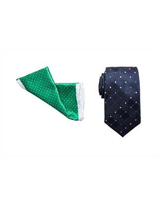 TIE & POCKET SQUARE SET - MULTI SPOT/ MICRO SPOT BORDER