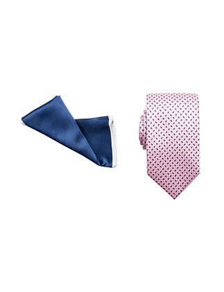 TIE & POCKET SQUARE SET - GEOMETRIC/PLAIN BORDER