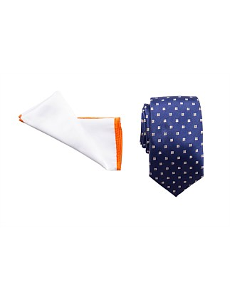 TIE & POCKET SQUARE SET - GEO FLORAL/PLAIN BORDER