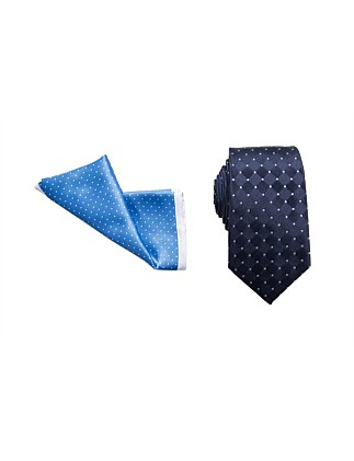 TIE & POCKET SQUARE SET - SPOT/SPOT BORDER